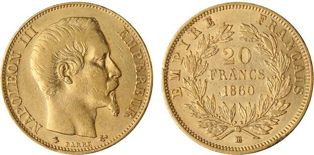 France, Napoleon III, 20 Francs, 1860 BB