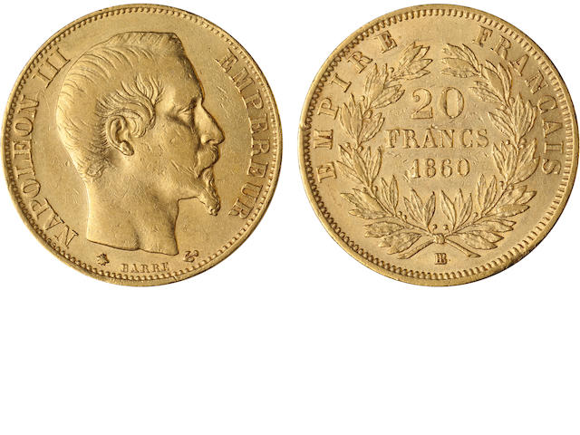 France, Napoleon III, 20 Francs, 1860BB