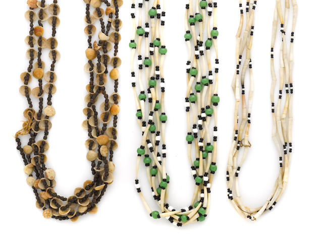 Three California shell and bead necklaces