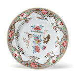 A famille rose-enameled porcelain charger 18th century Export type, with lingzhi head collar border. diameter 15in