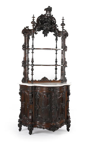 A fine Rococo Revival carved rosewood etagere cabinet New York or Philadelphia, mid-19th century