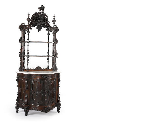 A fine Rococo Revival carved rosewood sideboard, mid 19th century NY or Phil