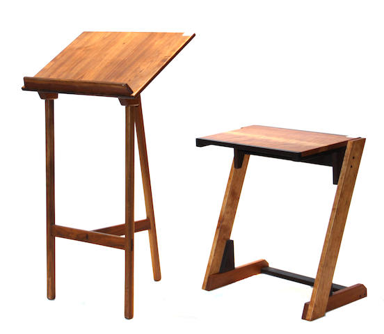 A set of two contemporary walnut lecterns/writing stands