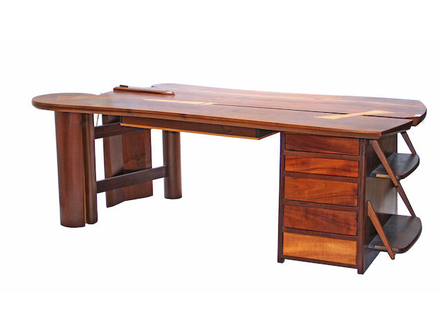 A mixed wood partner's desk