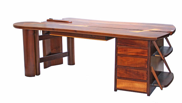 A contemporary mixed hardwood partner's desk