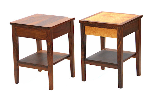 Two contemporary walnut bedside cabinets