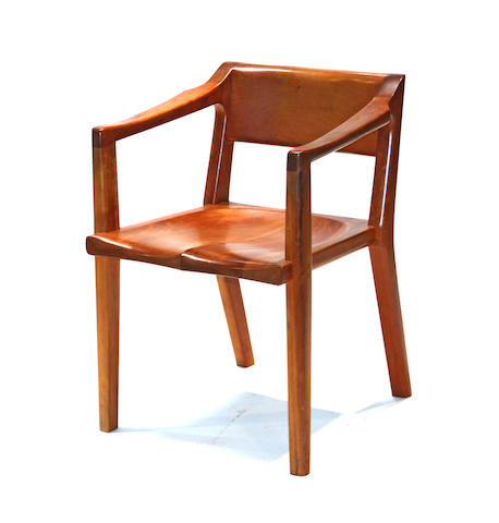 A contemporary walnut armchair<BR />Thomas Sayah<BR />Ashland, Oregon