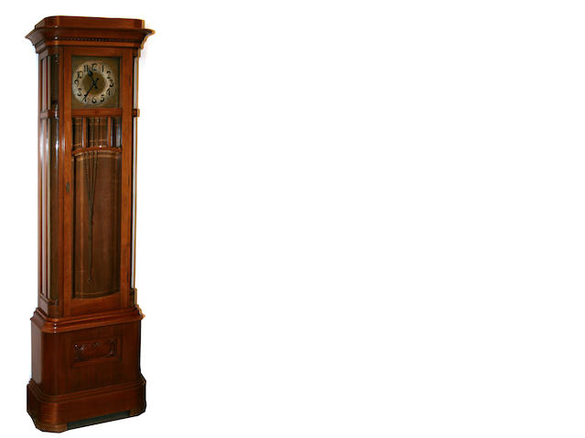 A Continental transitional Art Deco fruitwood tall-case clock  circa 1915