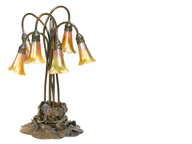 A Tiffany Studios seven light Lily lamp