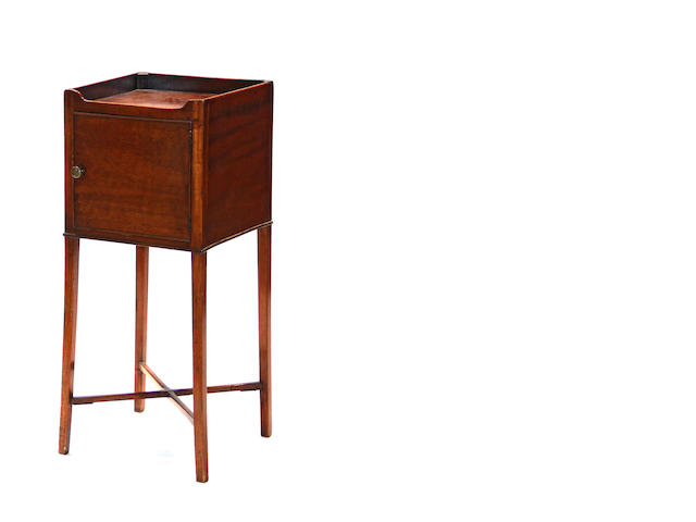 A George III mahogany bedside cabinet late 18th/early 19th century