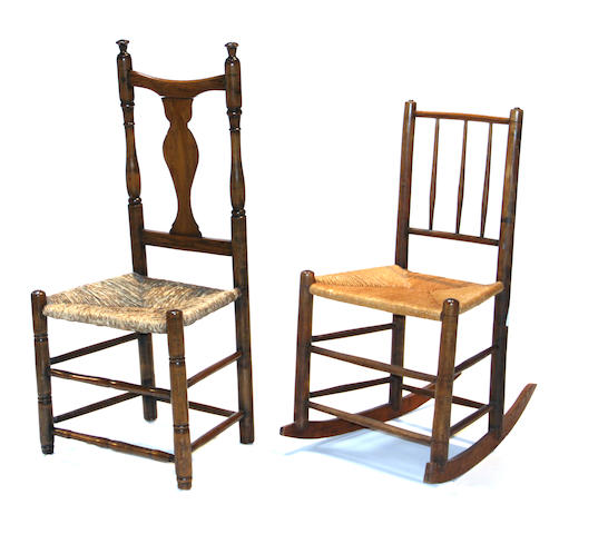 A Queen Anne maple side chair and an American maple spindle back rocker 18th/19th century