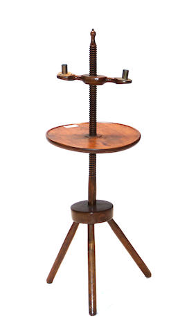 An American oak and birch spiral twist candle stand 18th/19th century