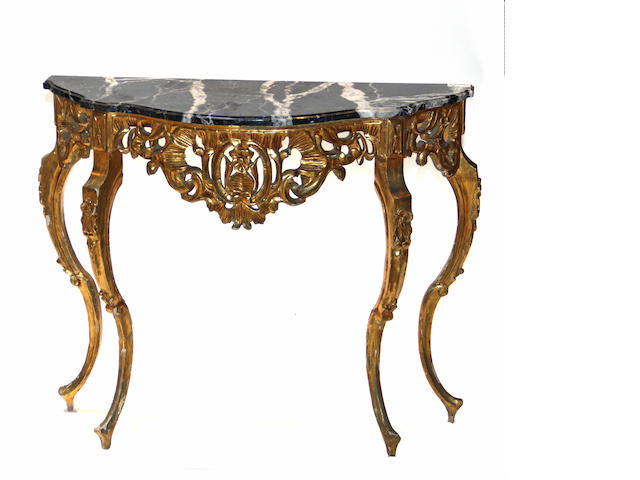A Louis XV style giltwood console table with marble top 20th century