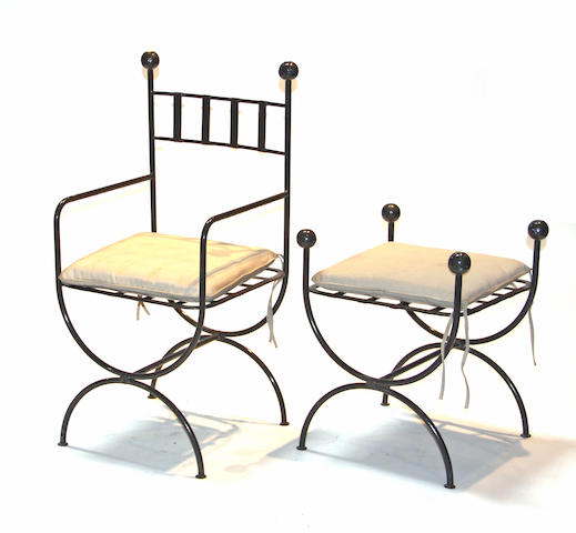 A set of five Neoclassical style painted metal armchairs, together with two en suite stools late 20th century