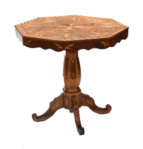 A Baroque style parquetry inlaid walnut center table second half 19th century