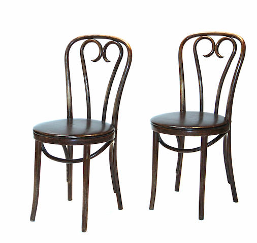 A large grouping of Vienna bentwood chairs