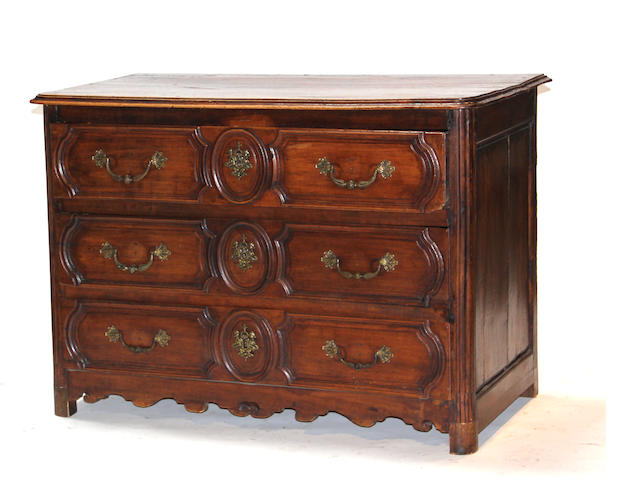 A Louis XV provincial walnut commode<BR />second half 18th century