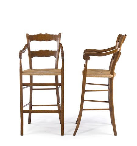 A set of four Louis XV style mixed wood and rush bar chairs<BR />20th century