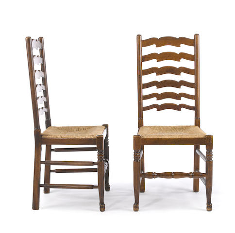 A set of eight English Lancashire style mixed wood dining chairs<BR />20th century