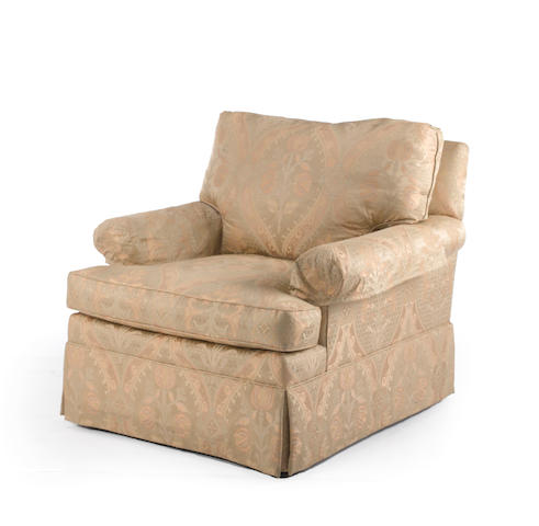 A contemporary paisley upholstered club chair