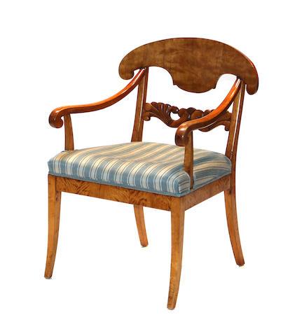 A Russian Neoclassical birchwood armchair circa 1830