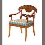 A Russian Neoclassical birchwood armchair circa 1830