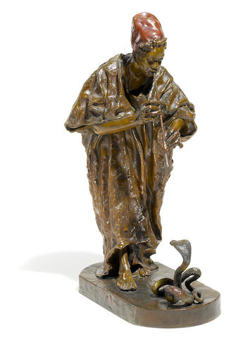 A patinated bronze figural group depicting a snake charmer <BR />Arthur Strasser (Austrian, 1854-1927)