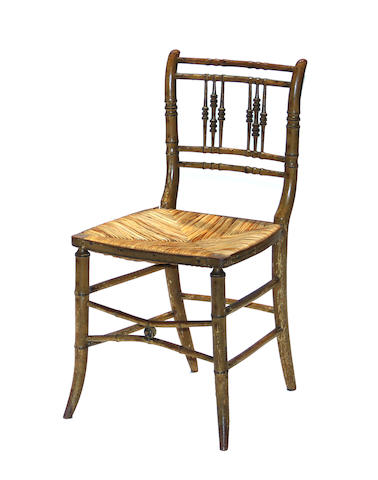A pair of Victorian turned painted side chairs