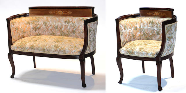 A Neoclassical style inlaid walnut settee and chair