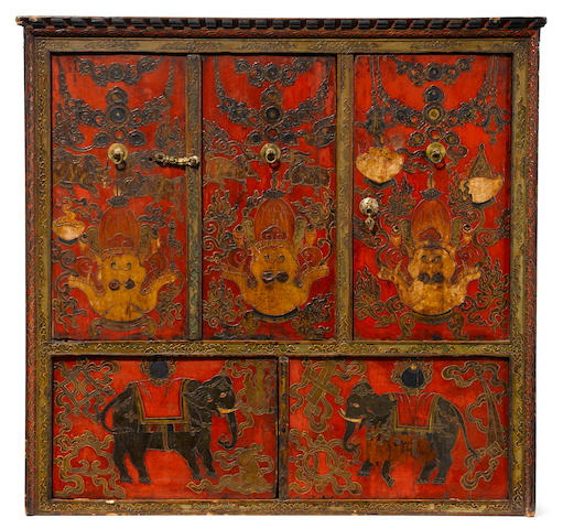 A mahakala torgam Ground mineral pigments on wood and metal fixtures, Tibet, 19t century