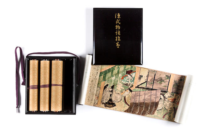 A set of 4 handscrolls of reproduction of Genji monogatari