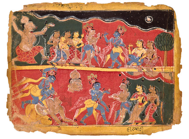 Illustration to the Bhagavata Purana: Krishna Slays the Yaksha Sankachuda Opaque watercolor on paper, North India, Circa 1520-1540