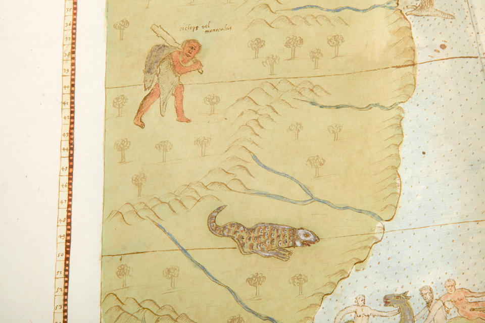 MONTE, URBANO. 1544-1613. [Manuscript Wall Map of the World.] Milan: 1587 (with additions to 1589).