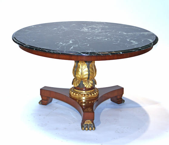 A William IV style mahogany parcel gilt and verdigris marble top center table