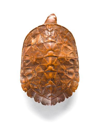 Three case wood turtle inro