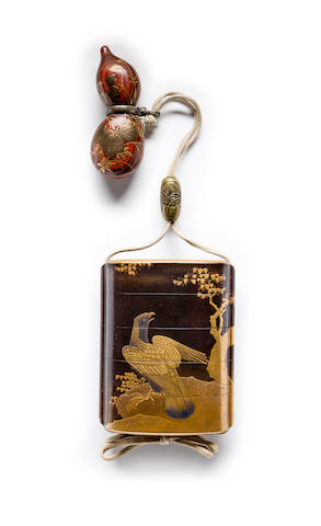 A four-case lacquer inro The netuske by Hara Yoyusai, Edo period, 18th-19th century
