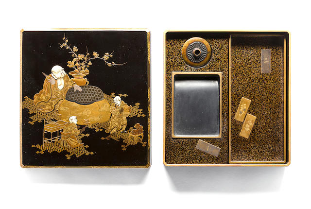 An ivory-inlaid lacquer writing box (suzuribako) Edo period (19th century)