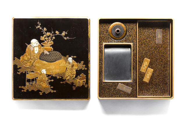 Writing box with Hotei, ivory inlays, 19th century