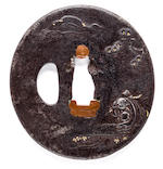 Iron oval tsuba with Hotei, Hotei menuki, 2 pouch clasps with Hotei