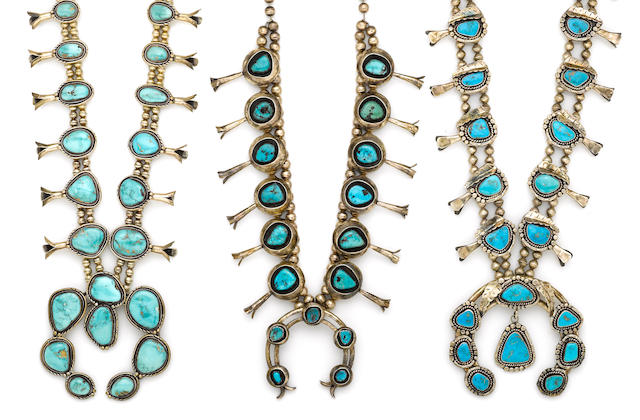 Three Navajo squash blossom necklaces