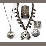 Five Hopi overlay jewelry items