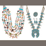A Zuni double-sided coral and turquoise squash blossom necklace with matching ring and earrings along with a Santo Domingo fetish necklace