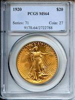 1920 $20 MS64 PCGS