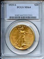 1925-S $20 MS64 PCGS