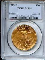 1925-D $20 MS64 PCGS