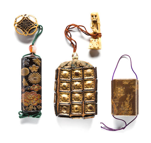 Four case gold lacquer inro with cherry trees; a six-case slender inro with butterflies and flowers signed (Ishikaze) or (Sekifu) few chips and a one-case inro fashioned from armor scales with skeleton netsuke