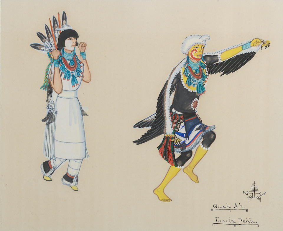 A Pueblo gouache; along with a Native American themed painting