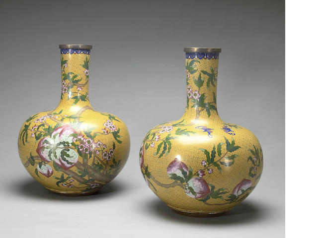 A pair of cloisonné enamel vases 20th century