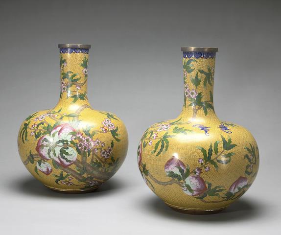 A pair of cloisonné enamel vases 20th century