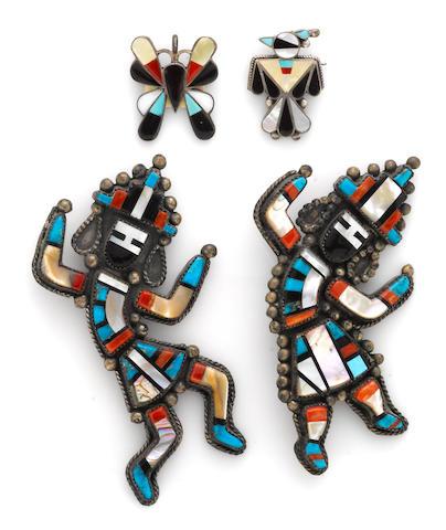 Four Zuni inlay items